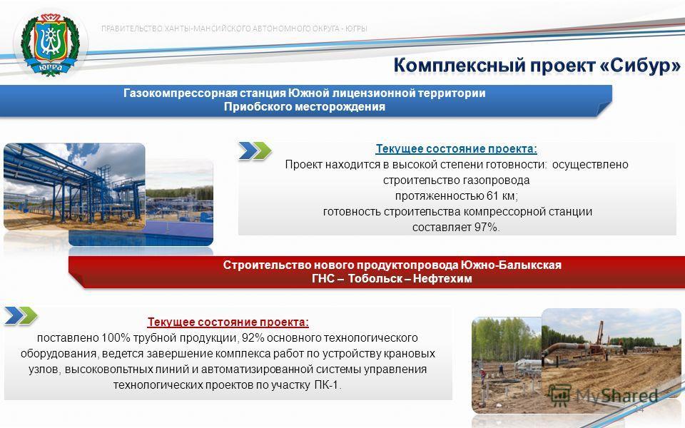 Текущее состояние проекта: Проект находится в высокой степени готовности: осуществлено строительство газопровода протяженностью 61 км; готовность строительства компрессорной станции составляет 97%. Строительство нового продуктопровода Южно-Балыкская