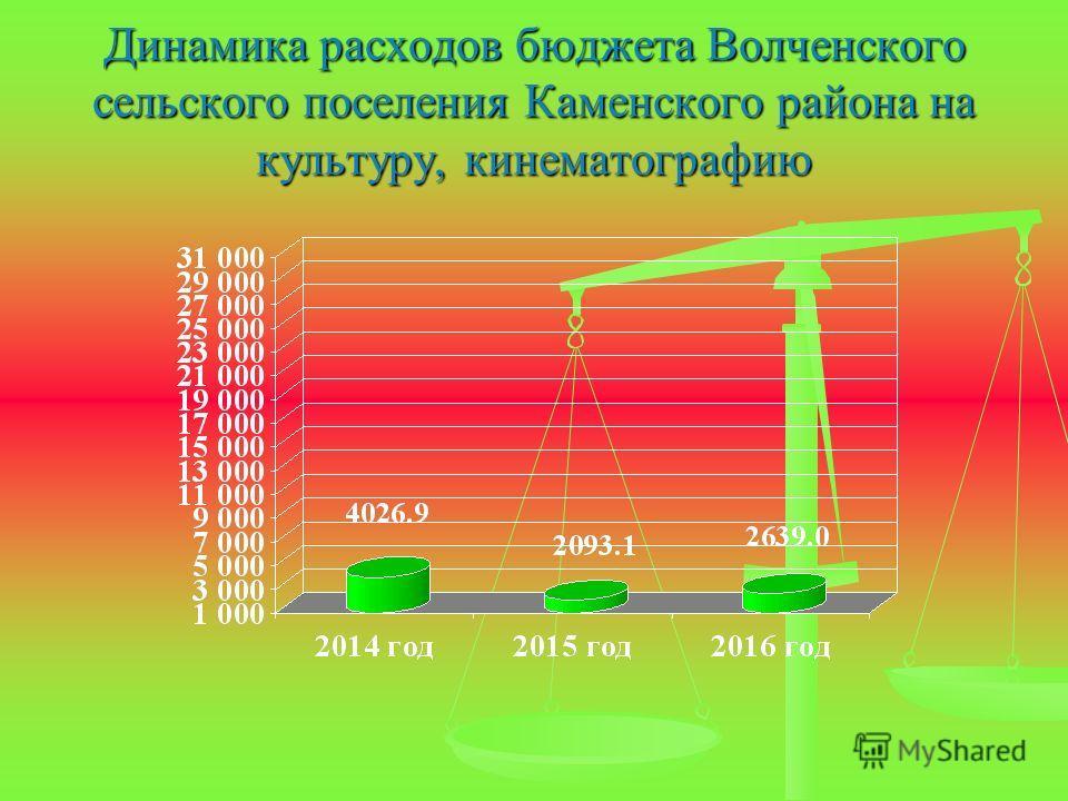 Динамика расходов бюджета Волченского сельского поселения Каменского района на культуру, кинематографию