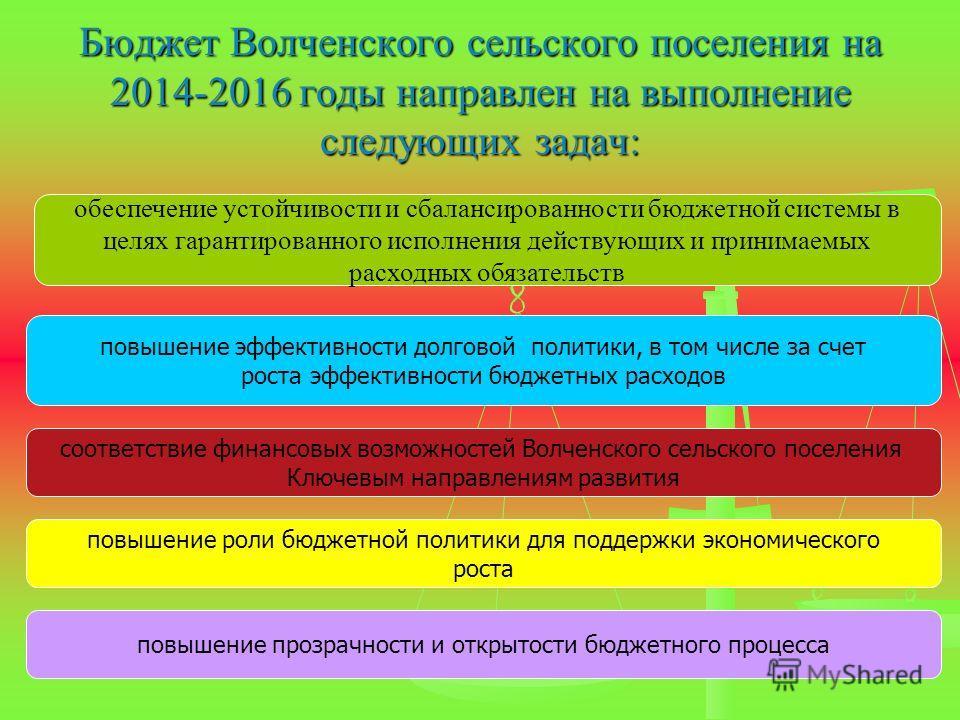 Бюджет Волченского сельского поселения на 2014-2016 годы направлен на выполнение следующих задач: обеспечение устойчивости и сбалансированности бюджетной системы в целях гарантированного исполнения действующих и принимаемых расходных обязательств пов