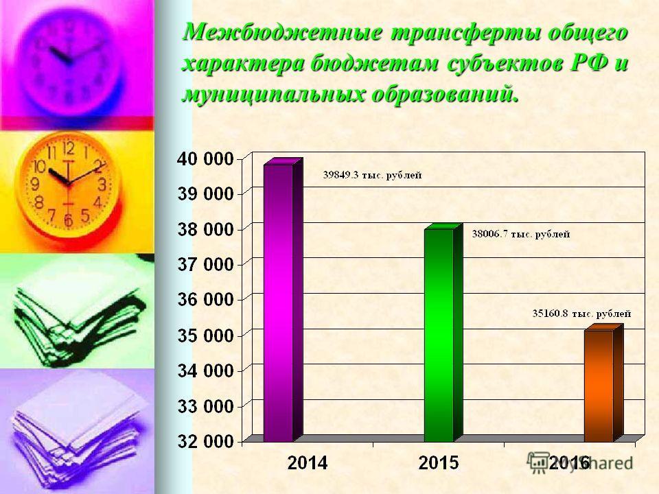Межбюджетные трансферты общего характера бюджетам субъектов РФ и муниципальных образований.