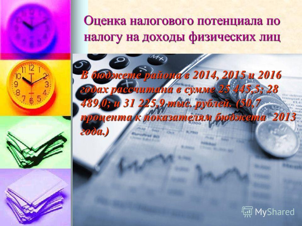 Оценка налогового потенциала по налогу на доходы физических лиц В бюджете района в 2014, 2015 и 2016 годах рассчитана в сумме 25 445,5; 28 489,0; и 31 225,9 тыс. рублей. (50,7 процента к показателям бюджета 2013 года.)