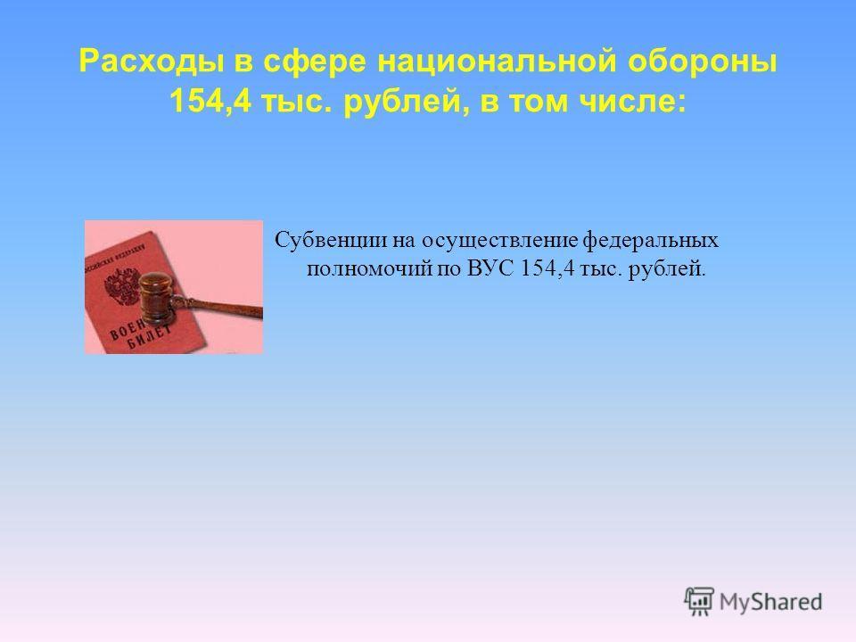 Расходы в сфере национальной обороны 154,4 тыс. рублей, в том числе: Субвенции на осуществление федеральных полномочий по ВУС 154,4 тыс. рублей.