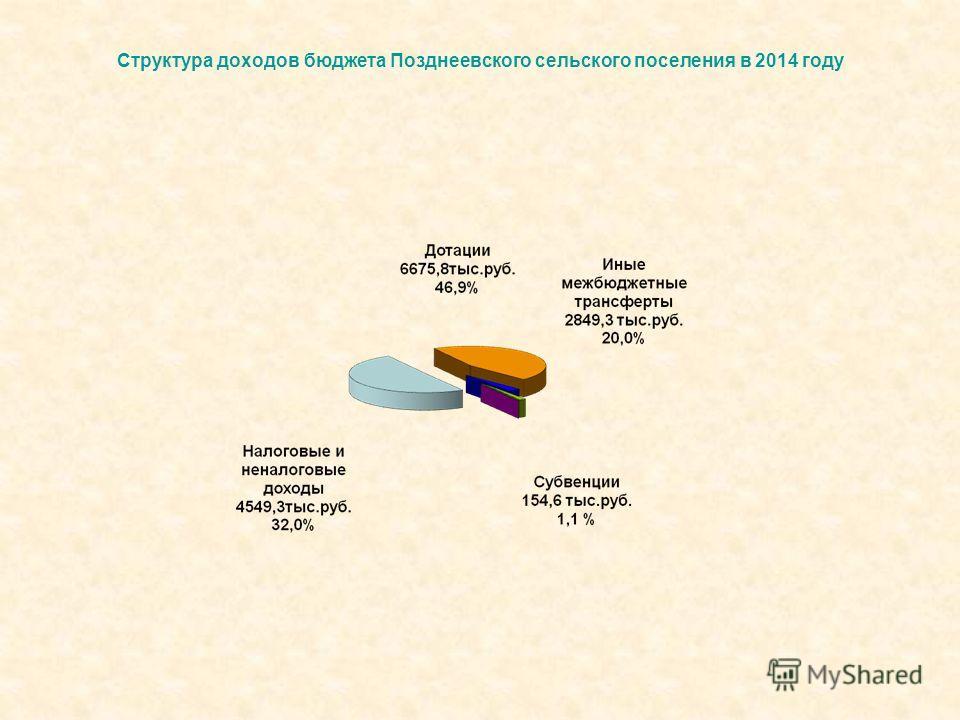 Структура доходов бюджета Позднеевского сельского поселения в 2014 году