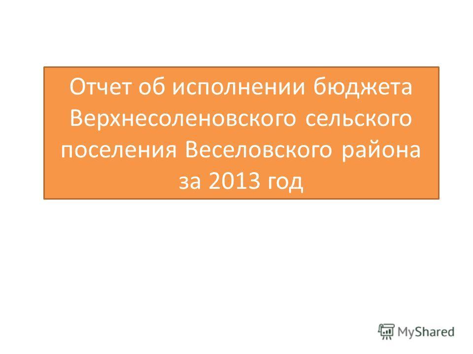 Отчет об исполнении бюджета Верхнесоленовского сельского поселения Веселовского района за 2013 год