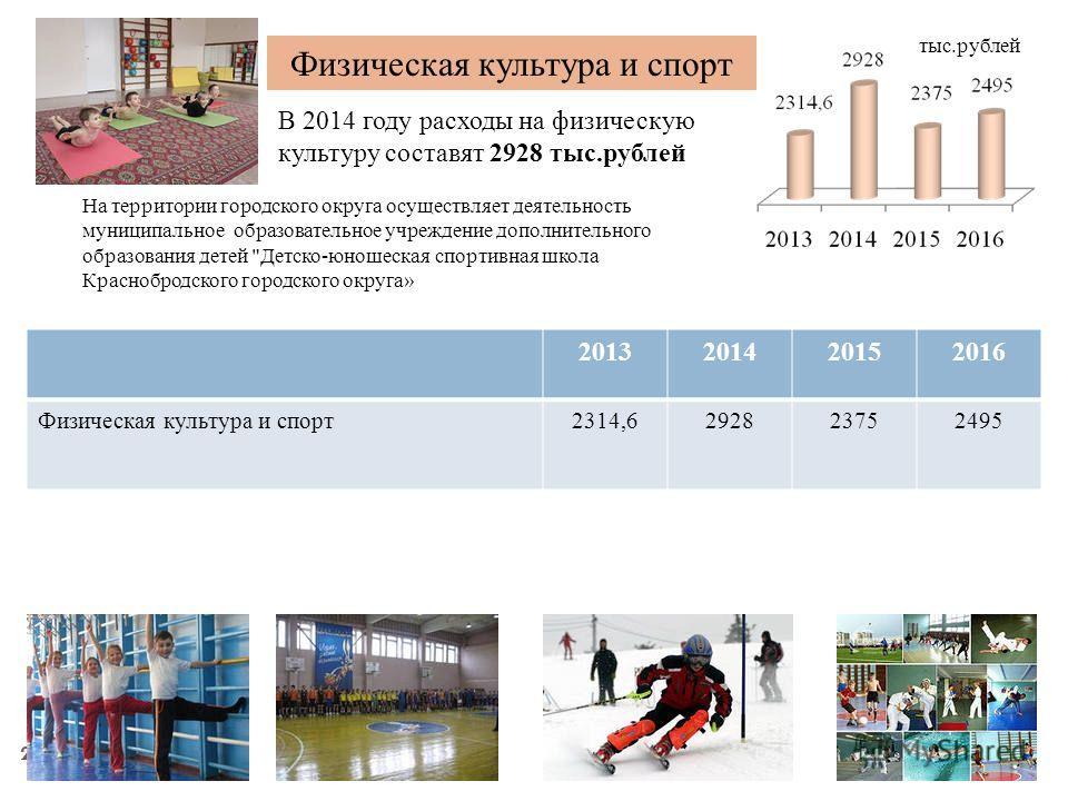22 Физическая культура и спорт В 2014 году расходы на физическую культуру составят 2928 тыс.рублей 2013201420152016 Физическая культура и спорт2314,6292823752495 тыс.рублей На территории городского округа осуществляет деятельность муниципальное образ