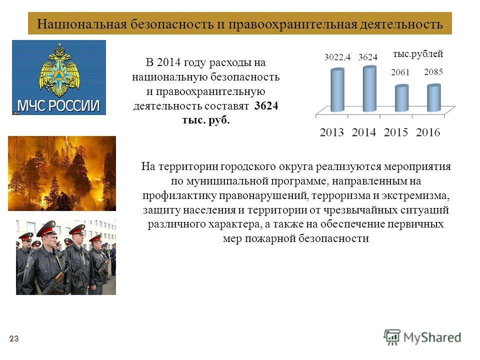 23 Национальная безопасность и правоохранительная деятельность В 2014 году расходы на национальную безопасность и правоохранительную деятельность составят 3624 тыс. руб. тыс.рублей На территории городского округа реализуются мероприятия по муниципаль