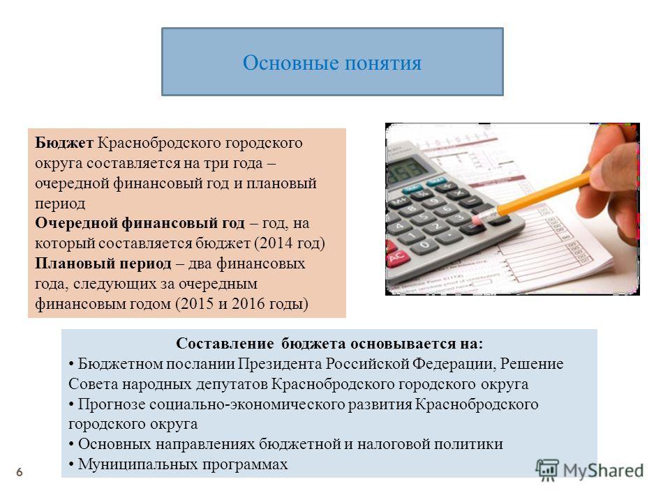 6 Основные понятия Бюджет Краснобродского городского округа составляется на три года – очередной финансовый год и плановый период Очередной финансовый год – год, на который составляется бюджет (2014 год) Плановый период – два финансовых года, следующ
