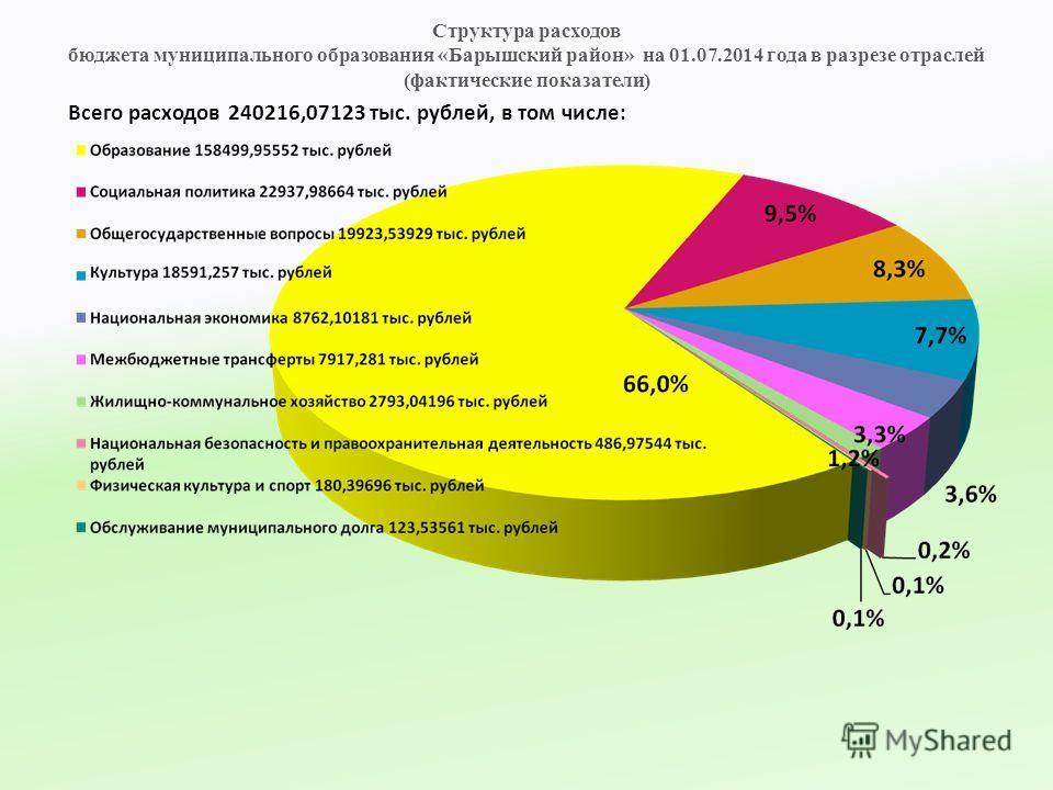 Структура расходов бюджета муниципального образования «Барышский район» на 01.07.2014 года в разрезе отраслей (фактические показатели) Всего расходов 240216,07123 тыс. рублей, в том числе: