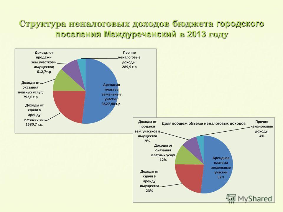 Структура неналоговых доходов бюджета городского поселения Междуреченский в 2013 году