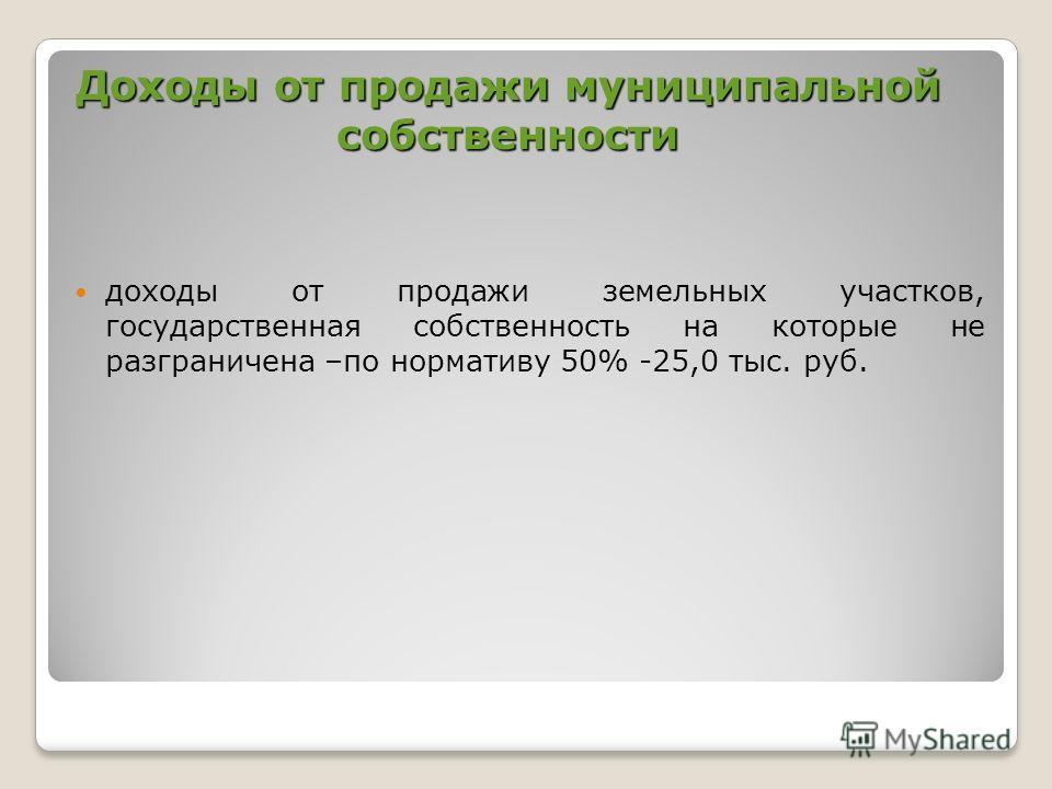 Доходы от продажи муниципальной собственности доходы от продажи земельных участков, государственная собственность на которые не разграничена –по нормативу 50% -25,0 тыс. руб.