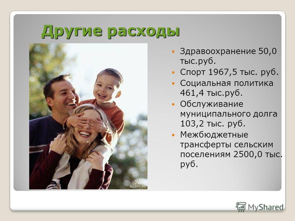 Другие расходы Здравоохранение 50,0 тыс.руб. Спорт 1967,5 тыс. руб. Социальная политика 461,4 тыс.руб. Обслуживание муниципального долга 103,2 тыс. руб. Межбюджетные трансферты сельским поселениям 2500,0 тыс. руб.
