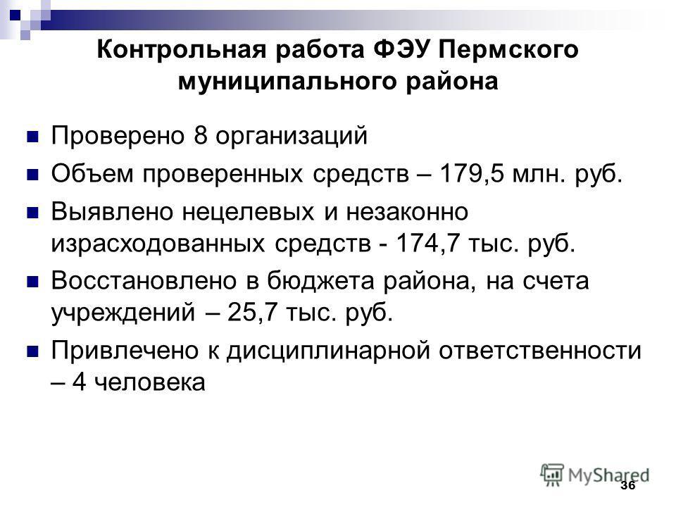 36 Контрольная работа ФЭУ Пермского муниципального района Проверено 8 организаций Объем проверенных средств – 179,5 млн. руб. Выявлено нецелевых и незаконно израсходованных средств - 174,7 тыс. руб. Восстановлено в бюджета района, на счета учреждений