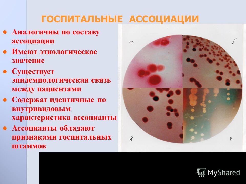 Аналогичны по составу ассоциации Имеют этиологическое значение Существует эпидемиологическая связь между пациентами Содержат идентичные по внутривидовым характеристика ассоцианты Ассоцианты обладают признаками госпитальных штаммов ГОСПИТАЛЬНЫЕ АССОЦИ