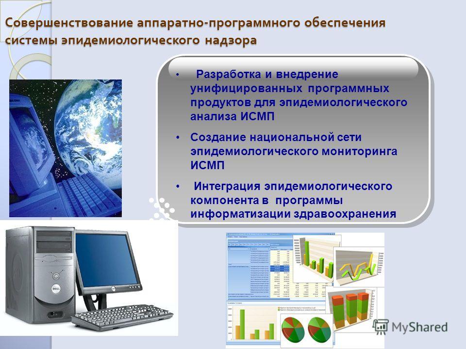 Совершенствование аппаратно - программного обеспечения системы эпидемиологического надзора Разработка и внедрение унифицированных программных продуктов для эпидемиологического анализа ИСМП Создание национальной сети эпидемиологического мониторинга ИС