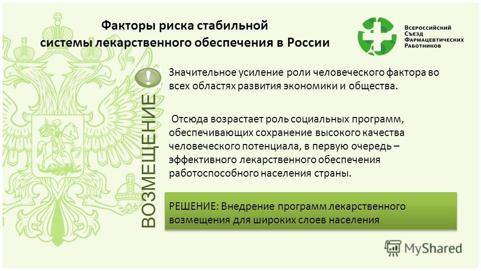 Факторы риска стабильной системы лекарственного обеспечения в России Значительное усиление роли человеческого фактора во всех областях развития экономики и общества. Отсюда возрастает роль социальных программ, обеспечивающих сохранение высокого качес