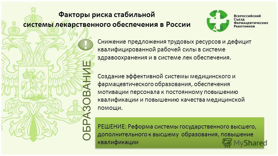 Факторы риска стабильной системы лекарственного обеспечения в России Снижение предложения трудовых ресурсов и дефицит квалифицированной рабочей силы в системе здравоохранения и в системе лек обеспечения. Создание эффективной системы медицинского и фа