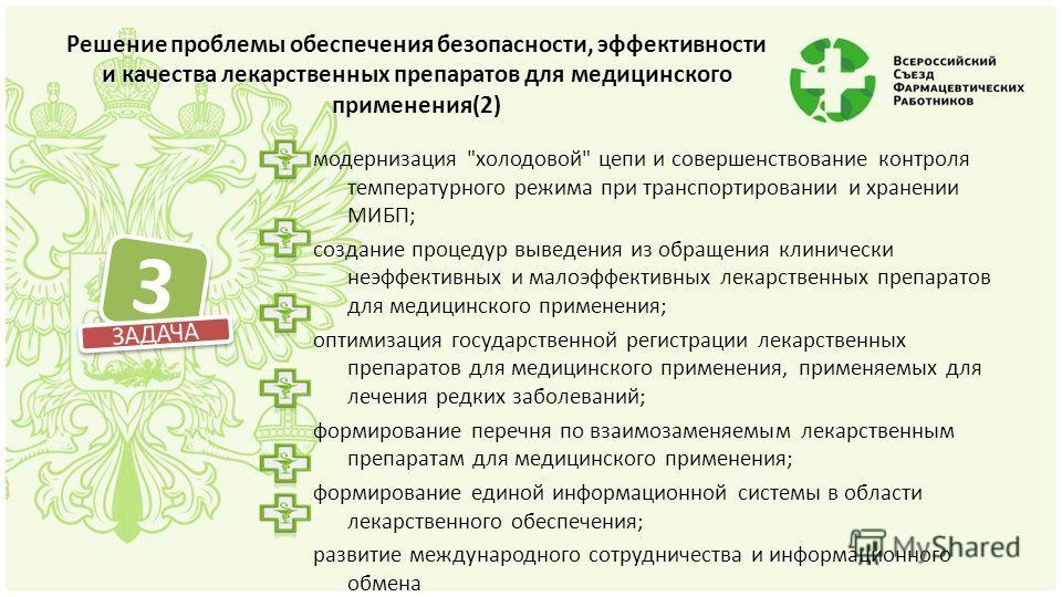 Решение проблемы обеспечения безопасности, эффективности и качества лекарственных препаратов для медицинского применения(2) модернизация