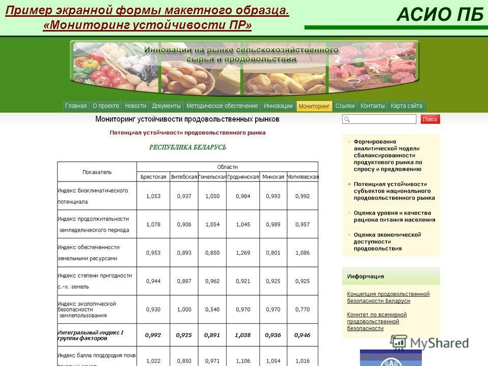 Пример экранной формы макетного образца. «Мониторинг устойчивости ПР» АСИО ПБ
