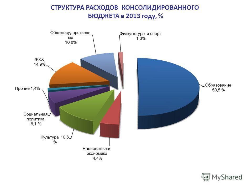 СТРУКТУРА РАСХОДОВ КОНСОЛИДИРОВАННОГО БЮДЖЕТА в 2013 году, %
