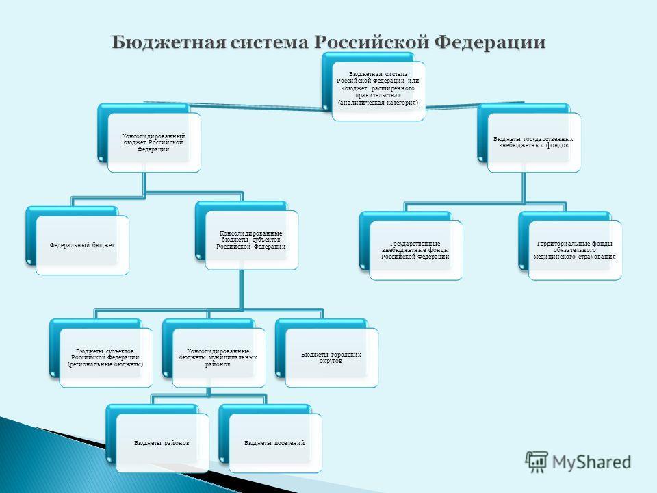 Бюджетная система Российской Федерации или «бюджет расширенного правительства» (аналитическая категория) Консолидированный бюджет Российской Федерации Консолидированные бюджеты субъектов Российской Федерации Бюджеты субъектов Российской Федерации (ре