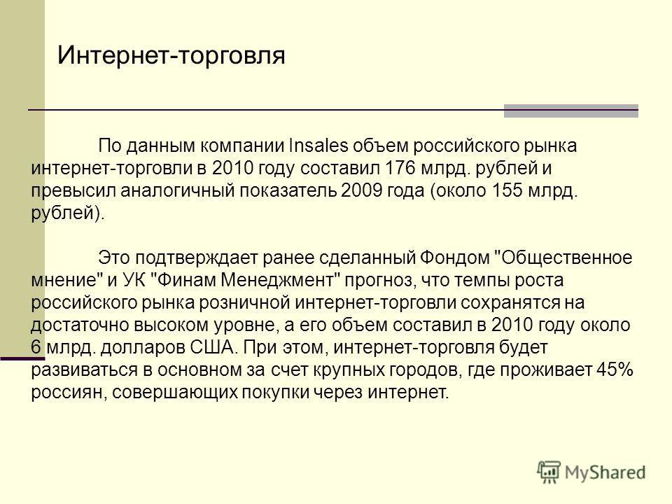 По данным компании Insales объем российского рынка интернет-торговли в 2010 году составил 176 млрд. рублей и превысил аналогичный показатель 2009 года (около 155 млрд. рублей). Это подтверждает ранее сделанный Фондом