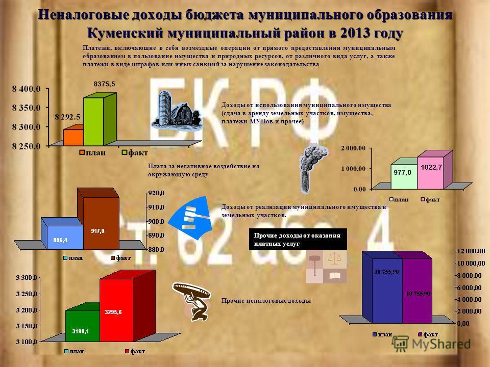 Неналоговые доходы бюджета муниципального образования Куменский муниципальный район в 2013 году Платежи, включающие в себя возмездные операции от прямого предоставления муниципальным образованием в пользование имущества и природных ресурсов, от разли