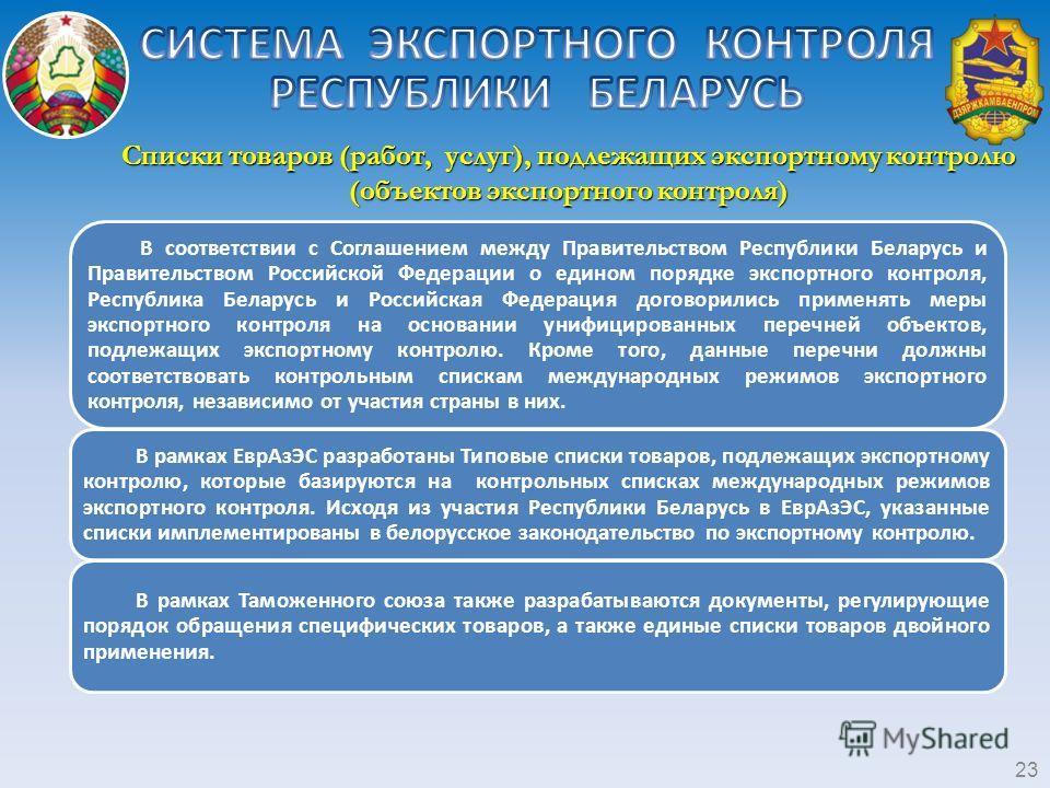 Списки товаров (работ, услуг), подлежащих экспортному контролю (объектов экспортного контроля) 23 В соответствии с Соглашением между Правительством Республики Беларусь и Правительством Российской Федерации о едином порядке экспортного контроля, Респу