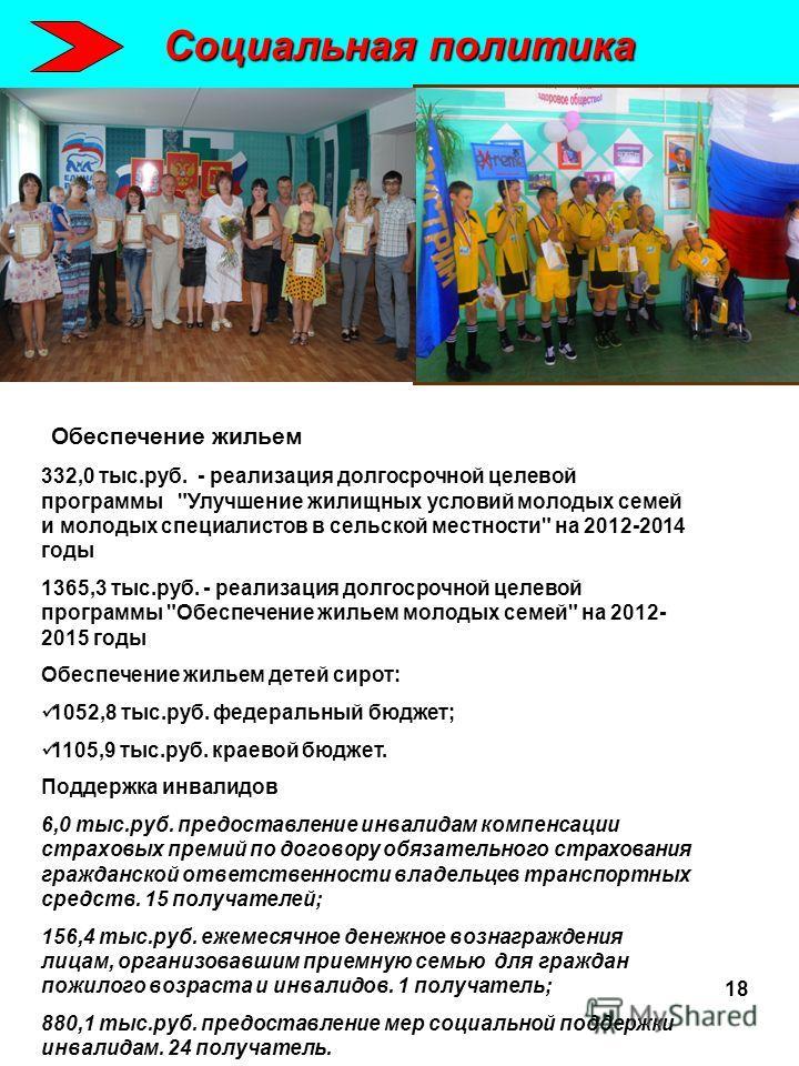 Социальная политика Обеспечение жильем 332,0 тыс.руб. - реализация долгосрочной целевой программы