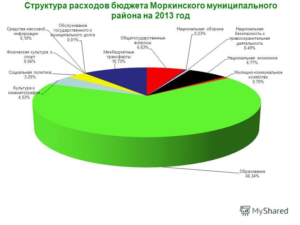 Структура расходов бюджета Моркинского муниципального района на 2013 год