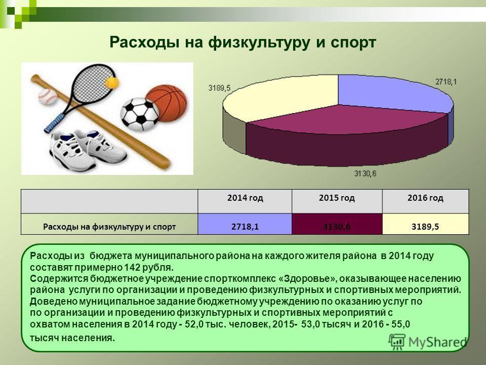 Расходы из бюджета муниципального района на каждого жителя района в 2014 году составят примерно 142 рубля. Содержится бюджетное учреждение спорткомплекс «Здоровье», оказывающее населению района услуги по организации и проведению физкультурных и спорт