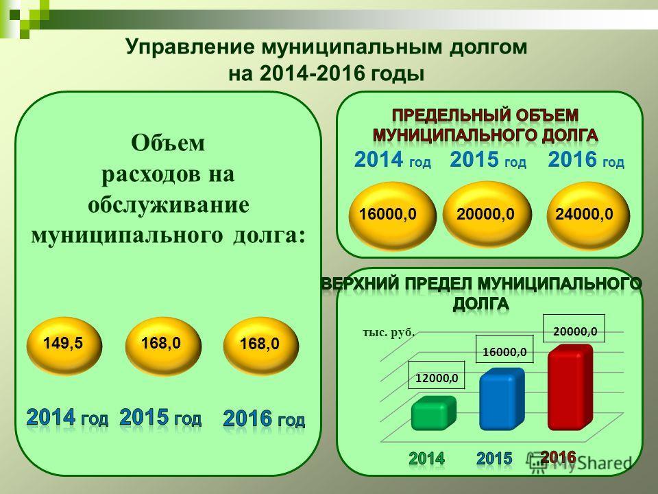 Объем расходов на обслуживание муниципального долга: тыс. руб. 12000,0 16000,0 20000,0 149,5168,0 16000,020000,024000,0 Управление муниципальным долгом на 2014-2016 годы