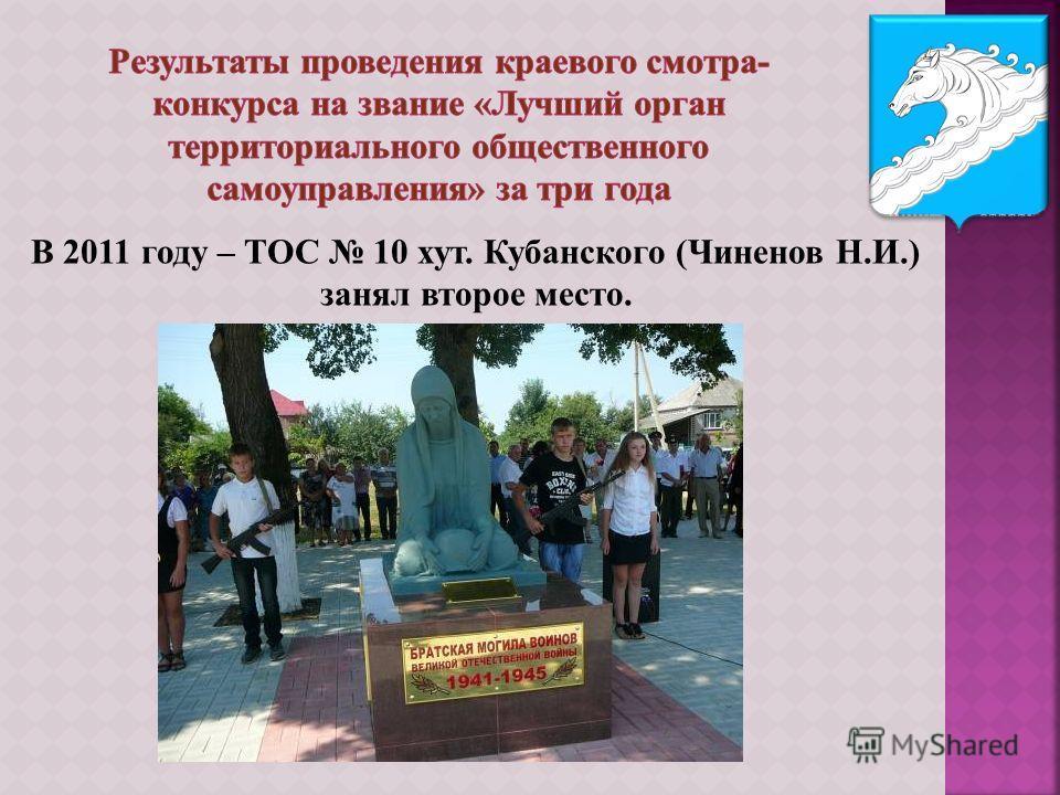 В 2011 году – ТОС 10 хут. Кубанского (Чиненов Н.И.) занял второе место.