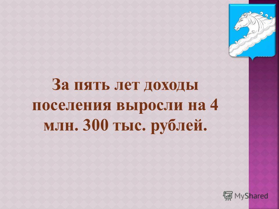 За пять лет доходы поселения выросли на 4 млн. 300 тыс. рублей.