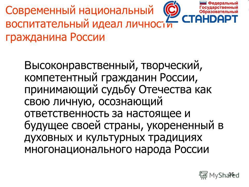 35 Современный национальный воспитательный идеал личности гражданина России В ысоконравственный, творческий, компетентный гражданин России, принимающий судьбу Отечества как свою личную, осознающий ответственность за настоящее и будущее своей страны,