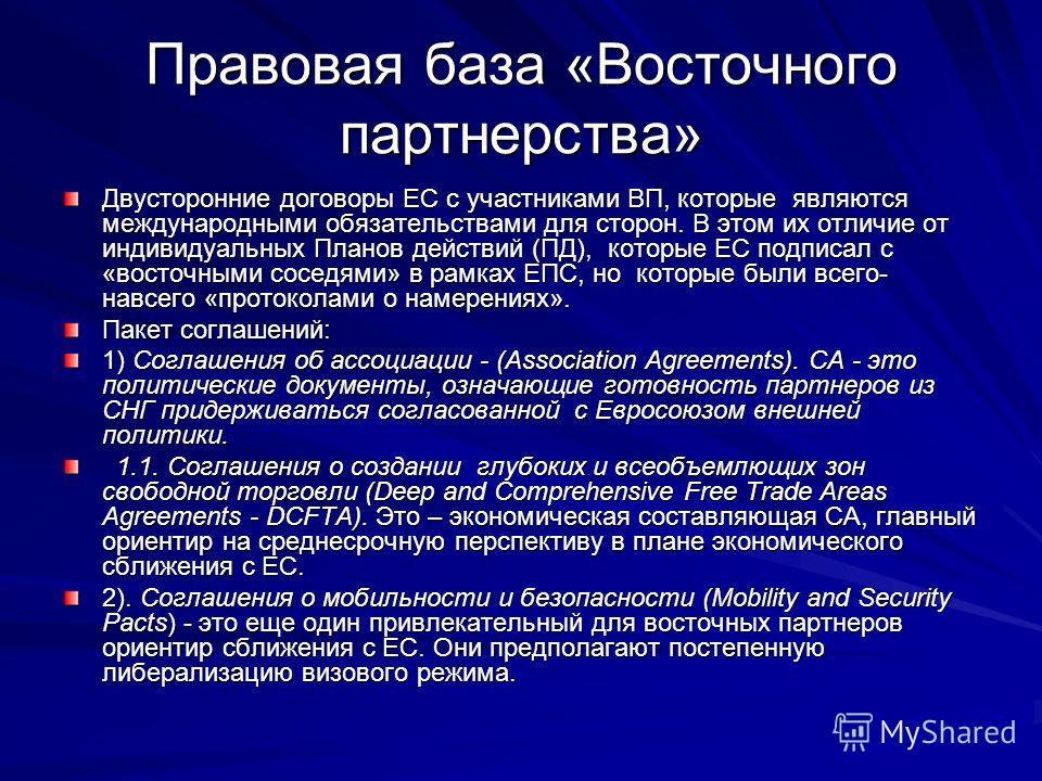 Правовая база «Восточного партнерства» Двусторонние договоры ЕС с участниками ВП, которые являются международными обязательствами для сторон. В этом их отличие от индивидуальных Планов действий (ПД), которые ЕС подписал с «восточными соседями» в рамк