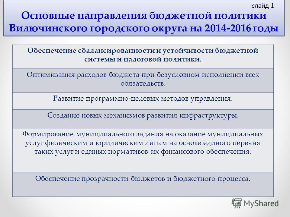Основные направления бюджетной политики Вилючинского городского округа на 2014-2016 годы Обеспечение сбалансированности и устойчивости бюджетной системы и налоговой политики. Оптимизация расходов бюджета при безусловном исполнении всех обязательств.