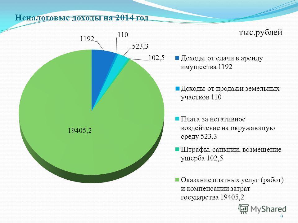 Неналоговые доходы на 2014 год 9 тыс.рублей