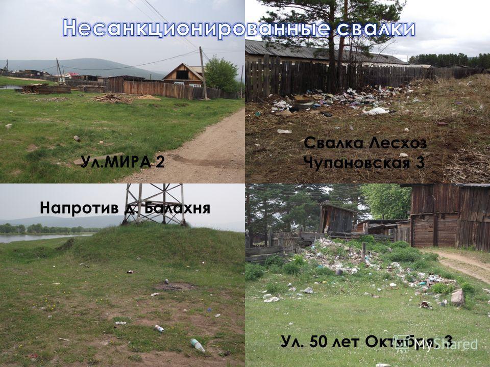 Ул.МИРА 2 Ул. 50 лет Октября, 3 Напротив д. Балахня Свалка Лесхоз Чупановская 3
