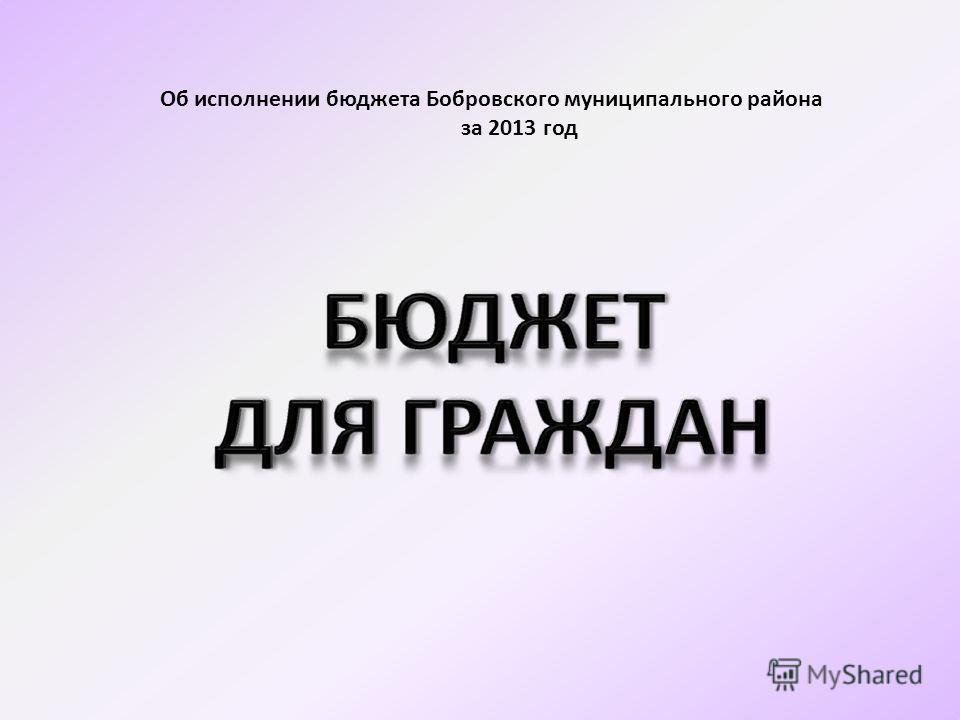 Об исполнении бюджета Бобровского муниципального района за 2013 год