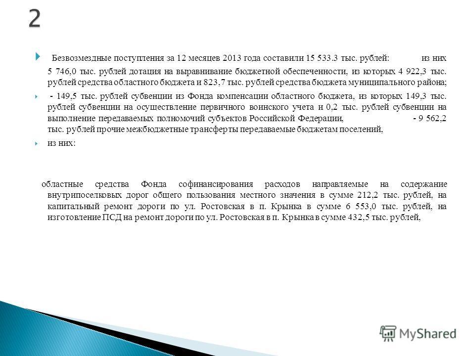 Безвозмездные поступления за 12 месяцев 2013 года составили 15 533.3 тыс. рублей: из них 5 746,0 тыс. рублей дотация на выравнивание бюджетной обеспеченности, из которых 4 922,3 тыс. рублей средства областного бюджета и 823,7 тыс. рублей средства бюд
