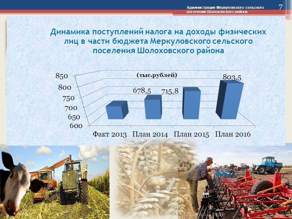 Администрация Меркуловского сельского поселения Шолоховского района 7 678,5 803,5 (тыс.рублей)