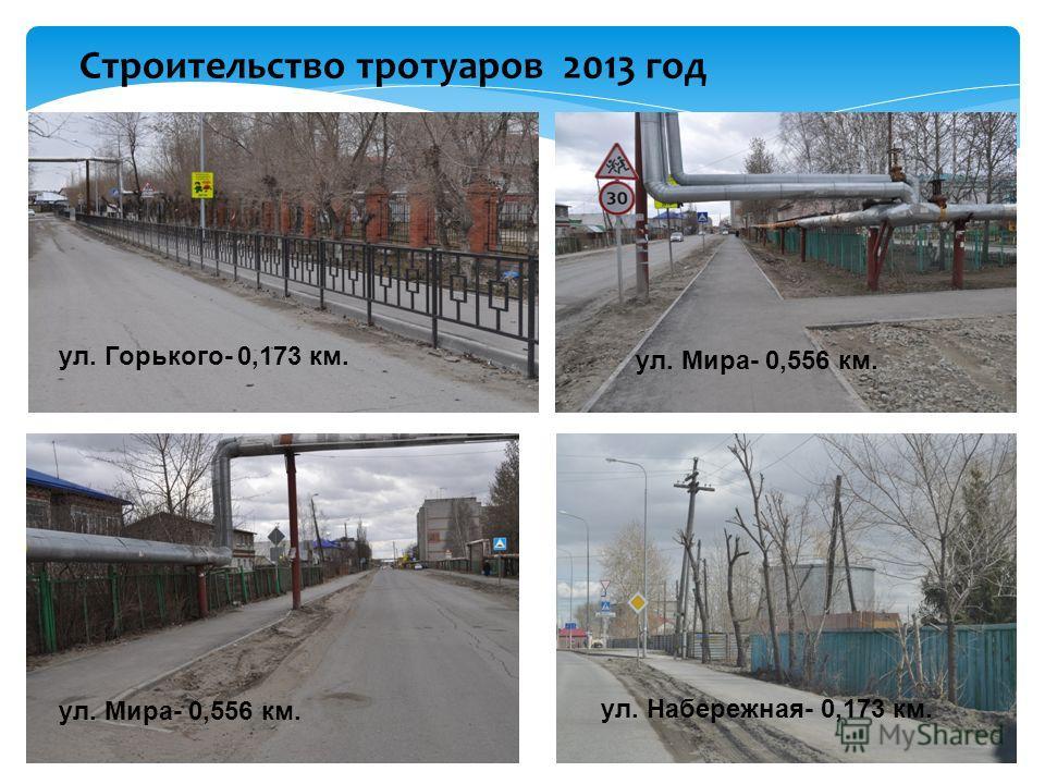 Строительство тротуаров 2013 год ул. Горького- 0,173 км. ул. Мира- 0,556 км. ул. Набережная- 0,173 км.