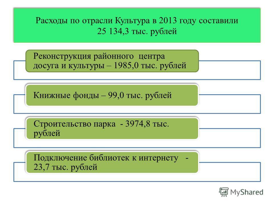 Расходы по отрасли Культура в 2013 году составили 25 134,3 тыс. рублей Реконструкция районного центра досуга и культуры – 1985,0 тыс. рублей Книжные фонды – 99,0 тыс. рублей Строительство парка - 3974,8 тыс. рублей Подключение библиотек к интернету -