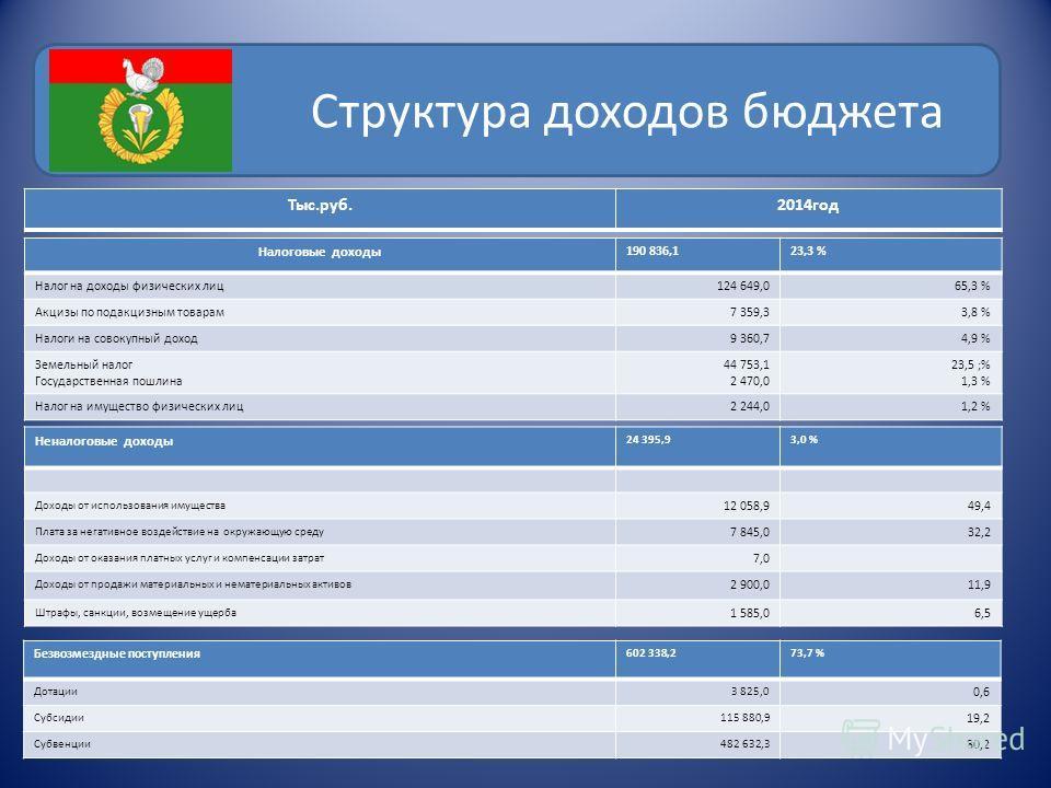Структура доходов бюджета Тыс.руб.2014 год Налоговые доходы 190 836,123,3 % Налог на доходы физических лиц 124 649,065,3 % Акцизы по подакцизным товарам 7 359,33,8 % Налоги на совокупный доход 9 360,74,9 % Земельный налог Государственная пошлина 44 7