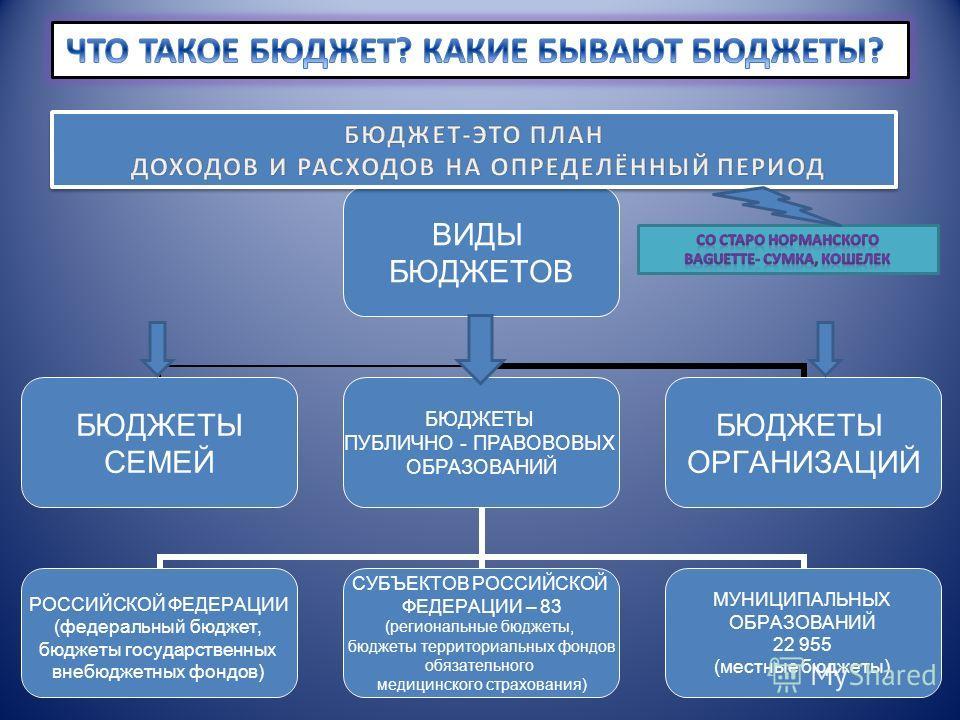 ВИДЫ БЮДЖЕТОВ БЮДЖЕТЫ СЕМЕЙ БЮДЖЕТЫ ПУБЛИЧНО - ПРАВОВОВЫХ ОБРАЗОВАНИЙ РОССИЙСКОЙ ФЕДЕРАЦИИ (федеральный бюджет, бюджеты государственных внебюджетных фондов) СУБЪЕКТОВ РОССИЙСКОЙ ФЕДЕРАЦИИ – 83 (региональные бюджеты, бюджеты территориальных фондов обя
