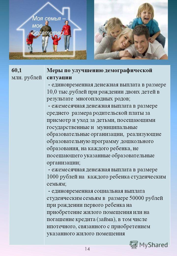 60,1 млн. рублей Меры по улучшению демографической ситуации - единовременная денежная выплата в размере 10,0 тыс.рублей при рождении двоих детей в результате многоплодных родов; - ежемесячная денежная выплата в размере среднего размера родительской п