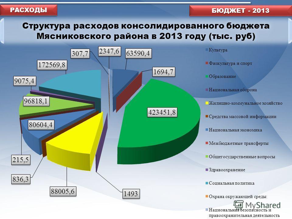 Структура расходов консолидированного бюджета Мясниковского района в 2013 году (тыс. руб) БЮДЖЕТ - 2013 РАСХОДЫРАСХОДЫ
