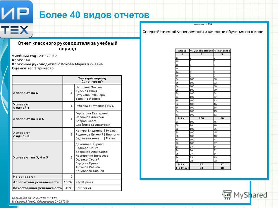 Отчет классного руководителя за учебный период Более 40 видов отчетов