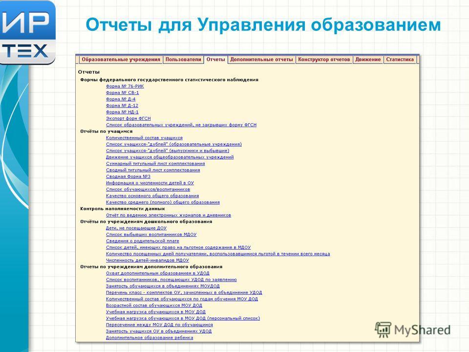 Отчеты для Управления образованием