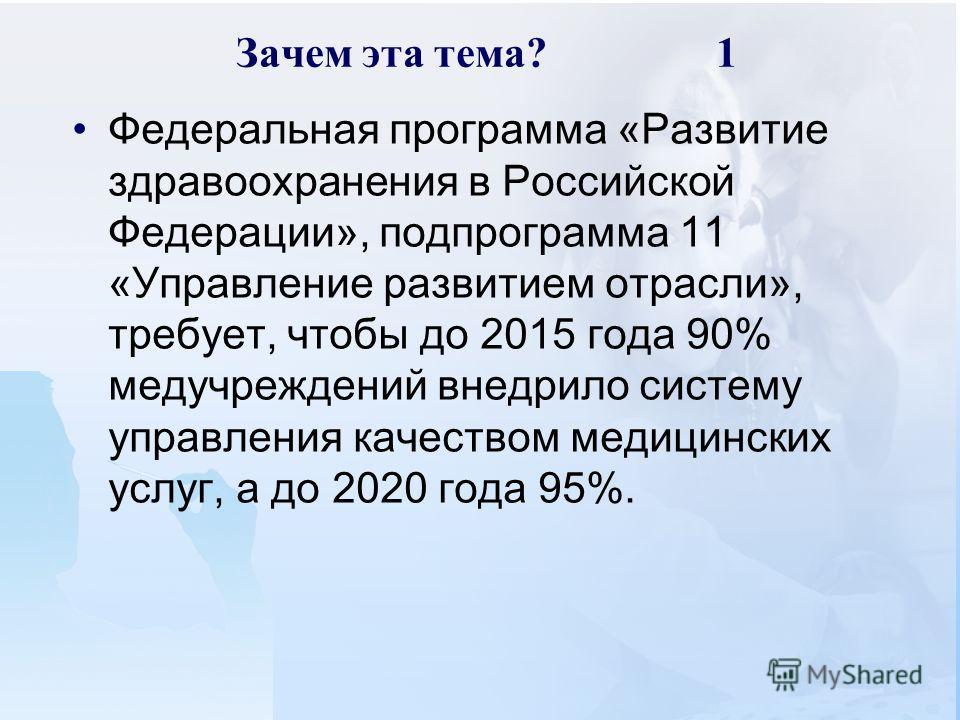 Зачем эта тема?1 Федеральная программа «Развитие здравоохранения в Российской Федерации», подпрограмма 11 «Управление развитием отрасли», требует, чтобы до 2015 года 90% медучреждений внедрило систему управления качеством медицинских услуг, а до 2020